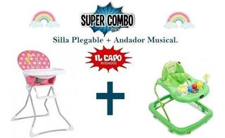 Combo Silla De Comer De Bebe Plegable + Andador Con Sonidos