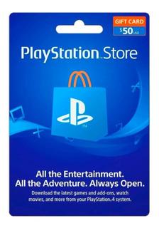 Tarjeta Psn $50 (playstation Store) Para Cuenta Americana
