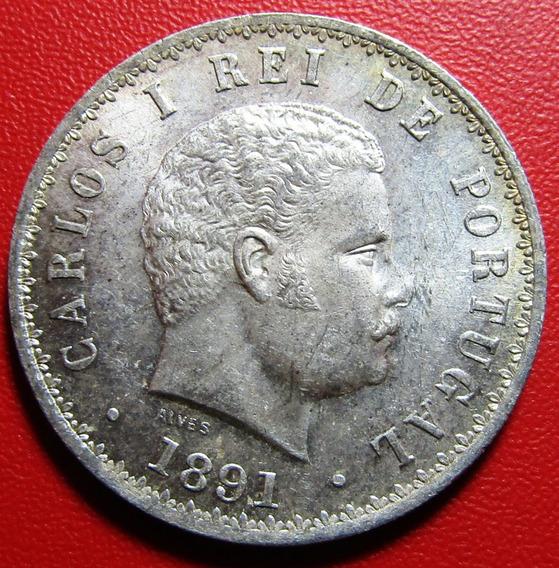 Portugal Moneda 500 Reis 1891 Plata Au Carlos I