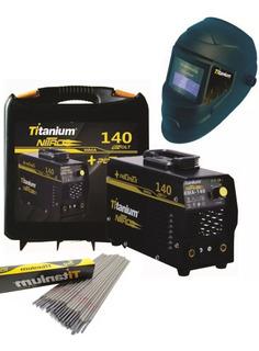 Maquina Solda Inversora 140a Titanium + Mascara + 1kg Eletro