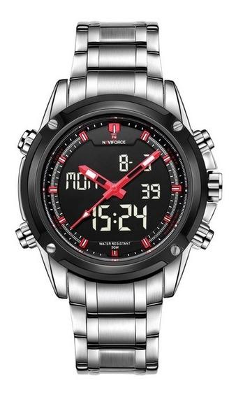 Relógio Masculino Naviforce Digital Analógico Luz Led Preto