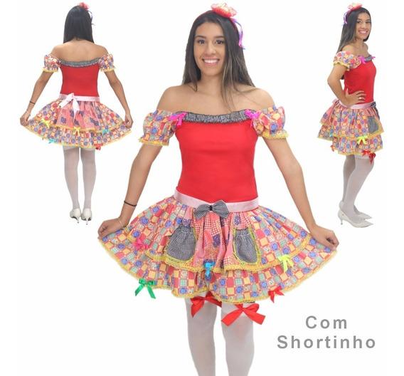 Conjunto Roupa Vestido Saia Shortinho Junino Festa Junina