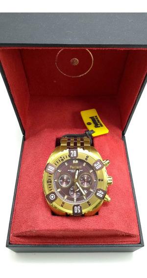 Relógio Ferrari Original Dourado Marrom Cronógrafo Fer7306