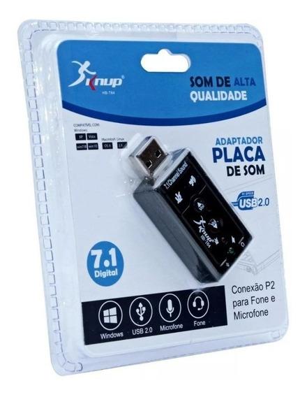 Adaptador Placa De Som Usb 7.1 Knup Hb-t64 C/nf