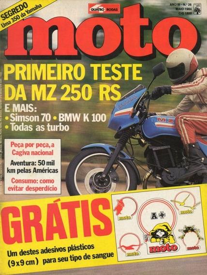 Quatro Rodas Moto N°26 Fbm Mz 250rs Simson 70 Bmw K100 Turbo
