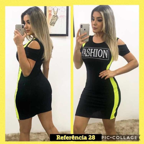 Vestido Lateral Neon Ombro Vazado Modelo Panicat Promoção