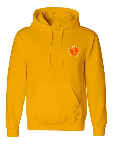 Hoodie Sudadera Color Amarilla Heavy Cotton Logo Corazon
