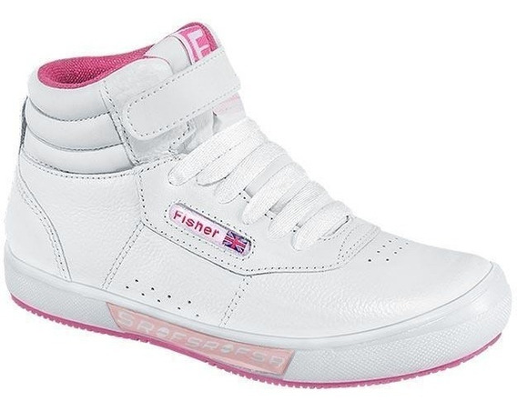 Tenis Escolar Marca Fisher And Young Mod 9402 Blanco/fiusha