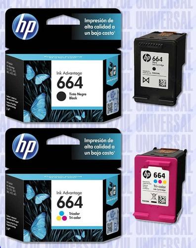 Combo Hp 664 Negro Y Color Original