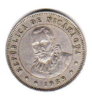 Moneda De Nicaragua Año 1939 De 25 Centavos Muy Buena
