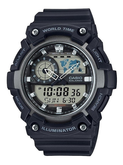 Relogio Casio World Time Aeq200-1av Preto & Cinza Original