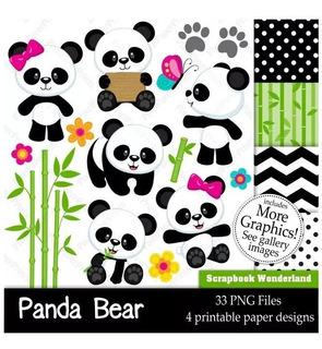 Kit Imprimible Ositos Panda Bebé Imagenes Fondos Baby Shower