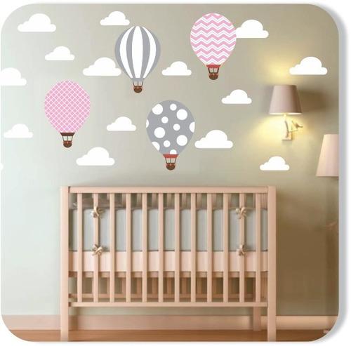 Adesivo Parede Infantil Balões Nuvens Rosa Cinza Tons Pastel