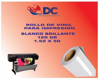 Rollo De Vinil Bco Brillante Para Impresion 120gr 1.52x50 M