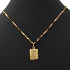 Belo Colar Com Pingente Letra R Banhado Ouro 18 K