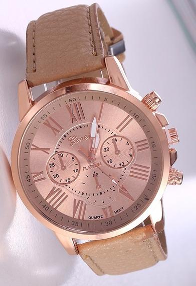 Relógio Rosê Feminino Pulseira Bege Rg001f Promoção!!!