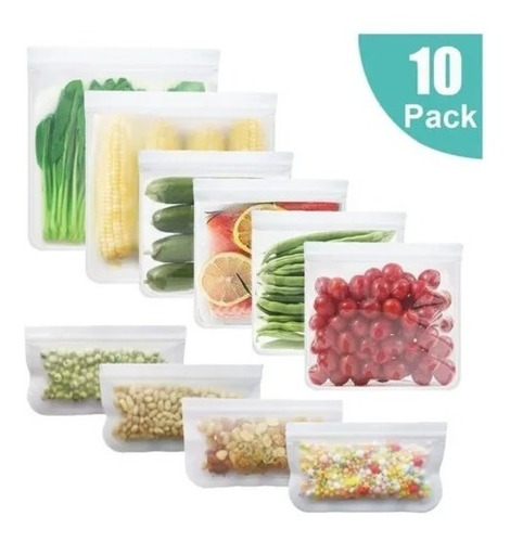 Imagen 1 de 4 de Bolsas De Silicon Reutilizables Para Alimentos Pack 10 Pzas