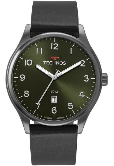 Relógio Technos Verde Militar Pulseira De Couro Original.