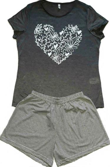 Kit 3 Pijama Feminino Adulto Verão Short Camiseta /brinde