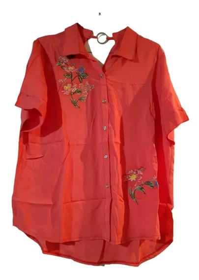 Camisa Fibrana Con Bordado T. U- Ramas