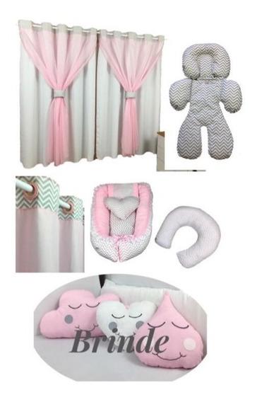 Kit Ninho Redutor Para Berço Almofada Amamentação Ajuste Para Bebê Conforto Cortina Com Voil + 3 Brindes