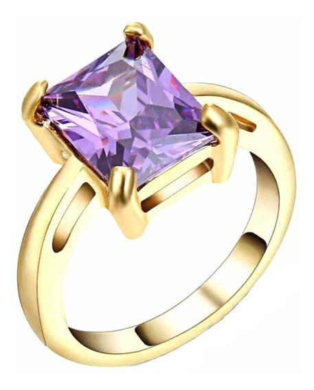 Anel Banhado Ouro Feminino Solitário Cristal Ametista 330 I