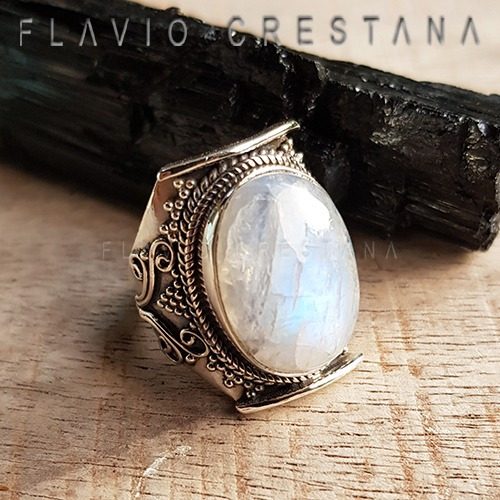 Anel Pedra Da Lua Natural, Prata 925. India -11912214