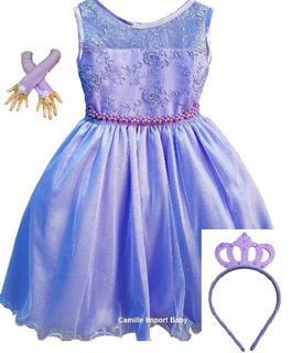 Vestido Princesa Sofia Luxo Festa Infantil Coroa E Luvas