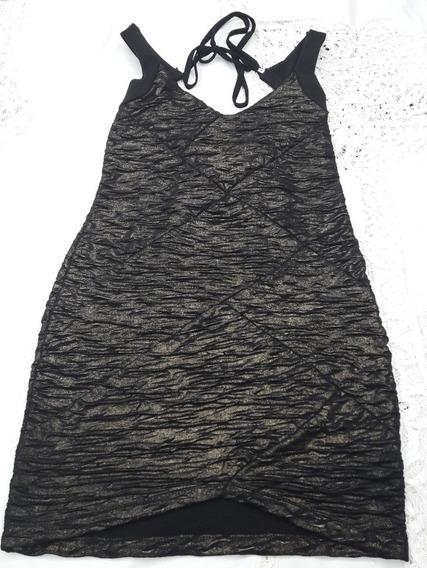 Ropa De Fiesta Vestido Corto Negro Con Dorado