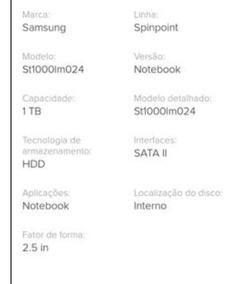 Hd Notebook Samsung 1tb