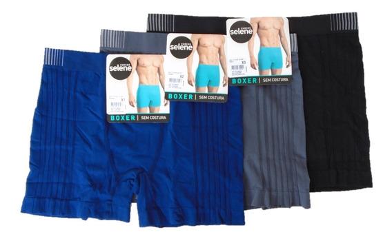 Boxer Sem Costura Plus Size Kit Com Cuecas Em Poliamida