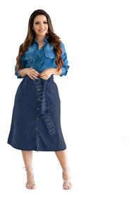 Saia Jeans Midi Botões Feminina Moda Casual Evangélica Top