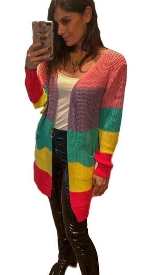Max Cardigan Tricor Colorido Com Bolsos Lançamento