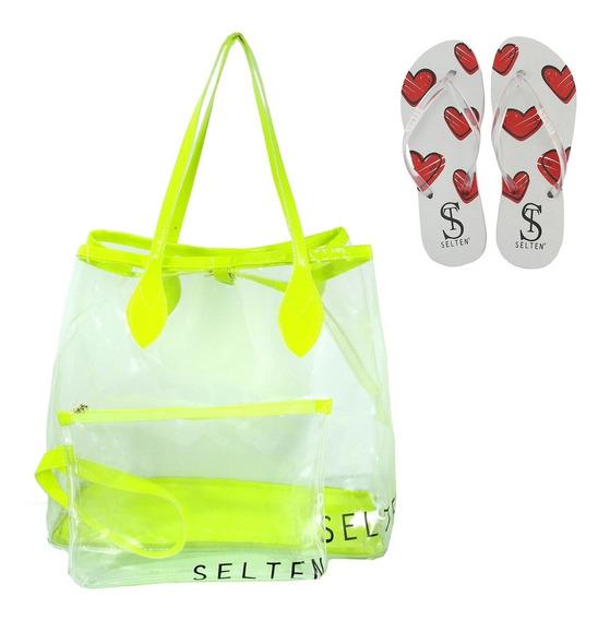 Bolsa De Praia Necessaire E Chinelo Verde Neon Ideal Verão