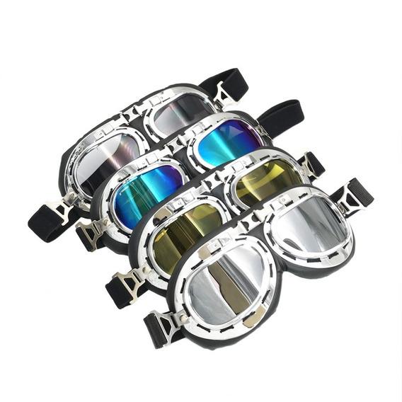 Óculos Motoqueiro Scooter Retro Aviador Pilot Motociclista