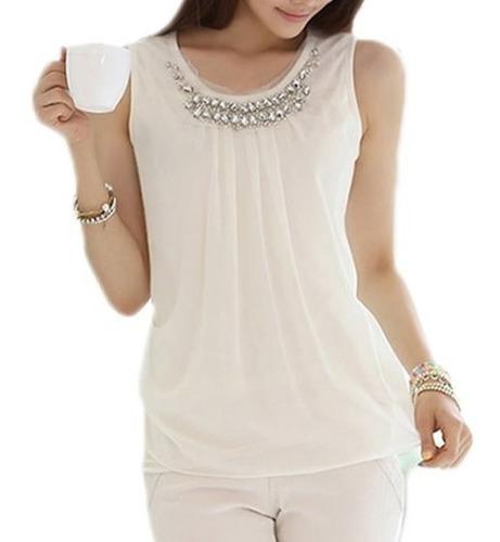 Imagen 1 de 6 de Blusa Elegante Blanca Talla S M L Nueva Importada En Stock