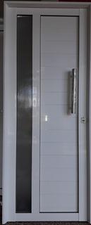 Puerta De Aluminio Blanco 80 X 200 Vidrio Barral Manijon