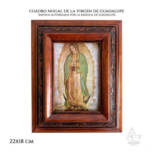 Cuadro Virgen De Guadalupe Replica Autorizada Nogal 22x18 Cm