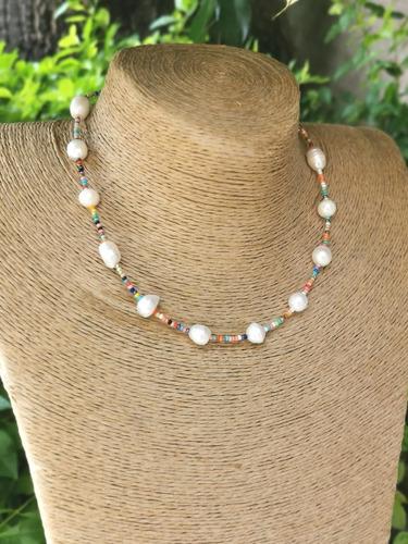 Imagen 1 de 1 de Collar Perla Con Chaquira (m: 06c3)