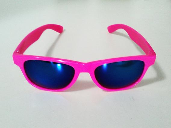 Óculos Rosa Uva / Uvb 400 Lente Azul Espelhada Debutante