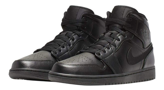 Air Jordan 1 Mid Black / Black - Black 554724 090