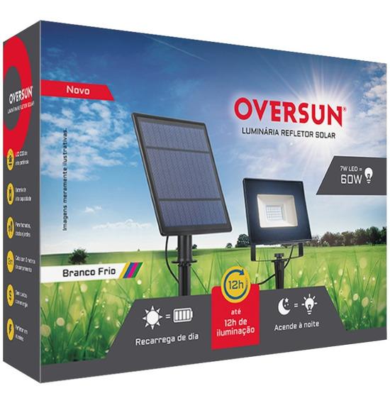 Refletor Luminária Solar Potente Poste 12h Luz Led Oversun