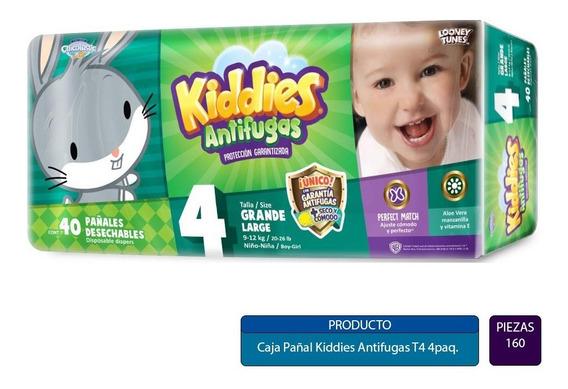 Caja Pañal Kiddies Antifugas T4 Con 4 Paquetes (160 Pz)