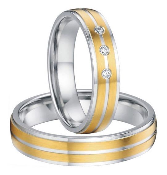 Par De Aliança Tungstênio Ouro 18k + Zircônia Casamento 5mm