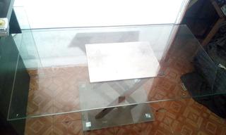 Mesa De Centro Vidrio Y Cromo 43 X23 1/2 X18 1/2 De Alto