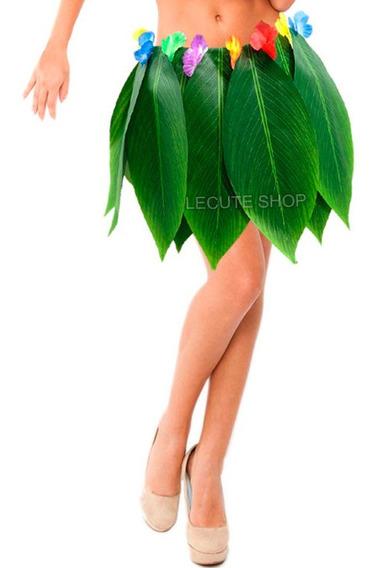 Falda Hawaiana Simulacion De Hojas Verde Flores Hula Fiesta