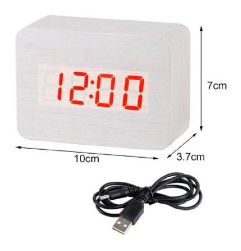 Reloj Despertador Digital  Tipo Madera / Temperatura
