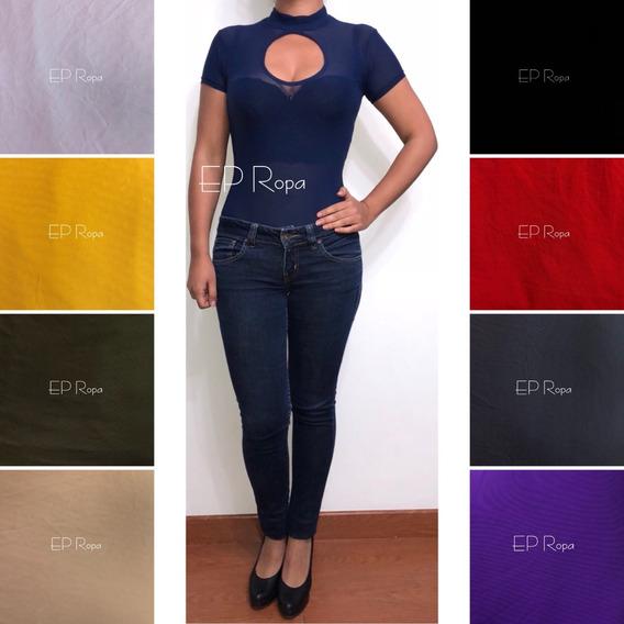 Blusa Body Cuello Alto Transparente Malla Mujer Envío Gratis