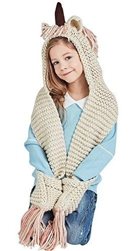 Bufanda Con Gorra Bolsillos Unicornio Crochet Invierno Niña