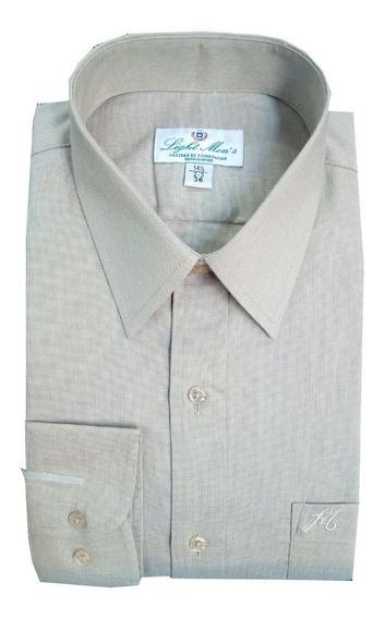 Camisa Beige M/ L Caballero Planchado Fácil
